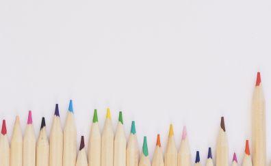Wooden pencils, arrangement, 4k