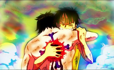 Ace, luffy, one piece, anime, brothers, 4k