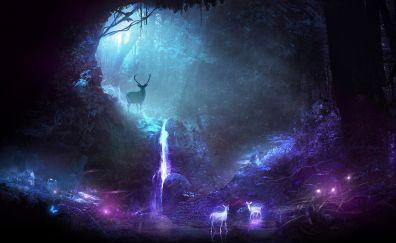Deer, fantasy, spirit, forest, waterfall, art