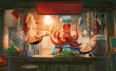 Humor, octopus, chef