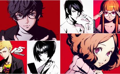 Video game, persona 5, collage, characters, 4k