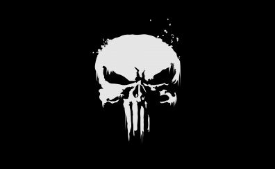 The punisher, logo, skull, dark, 4k