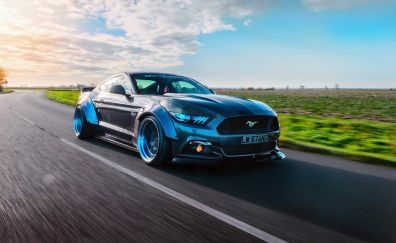 On road, muscle car, Ford mustang GT-R