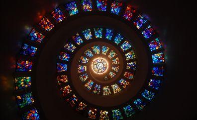 Dome, 4k, architecture, spiral, colorful