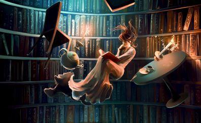 Reading, flight, girl, library, art