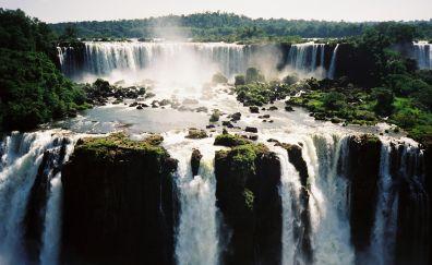Iguazu falls, waterfall, nature, river, 4k