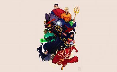 Justice league, cartoon, comic artwork, 4k