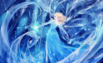 Elsa, Dance, princess, frozen, animated movie, art