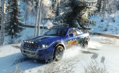 The crew, blue car, winter, video game
