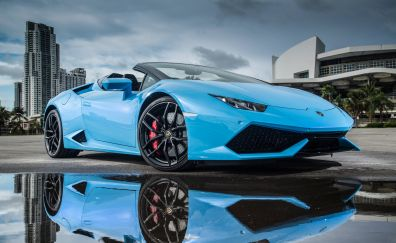 Lamborghini huracan, blue sports car, 4k
