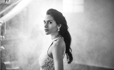 Inbar lavi, celebrity, actress, monochrome, 4k