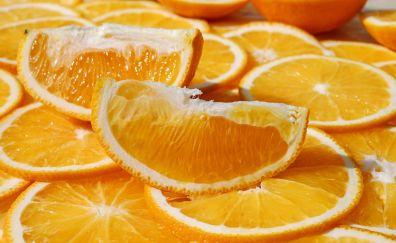 Orange, slices, fruits, 4k
