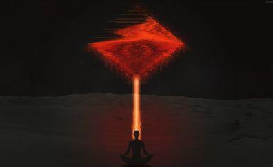 Man, meditation, digital art, 4k