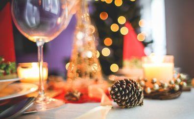 Christmas, new year celebration, wine glass