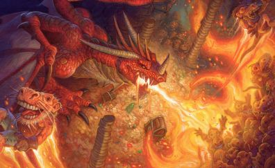 Dragon, fire, video game, hearthstone: kobolds and catacombs, 4k