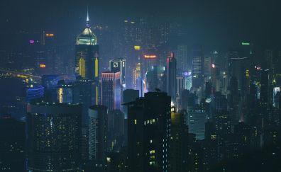 Hong kong, city, night, lights, cityscape, buildings