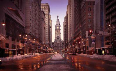 Philadelphia, streets, buildings, road, winter, snowfall, 4k