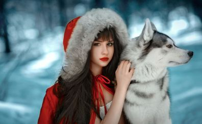 Wolf and woman, Red riding hood, girl model, cosplay