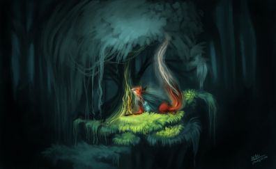 Red Fox, relaxed, tree, forest, dark, art