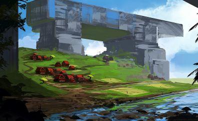 City, landscape, fantasy, art