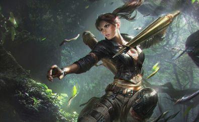 Lara croft, Tomb Raider, video game, digital art