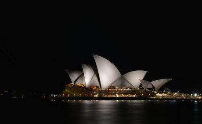 Sydney Opera House, architecture, night, Sydney