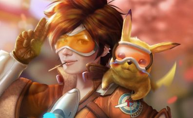 Tracer, Pikachu, game, crossover
