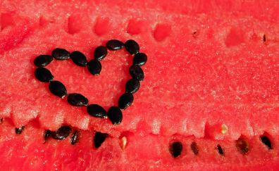 Watermelon, fruits, slices, heart, seeds