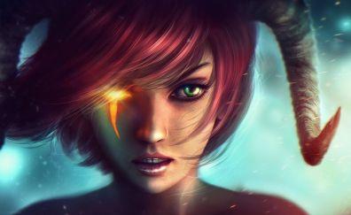 Red head, girl, fantasy, horns