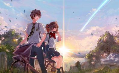 Mitsuha miyamizu, Taki Tachibana, anime couple, art