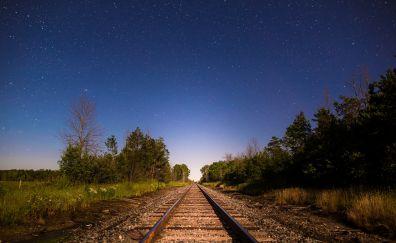 Railroad, track, sunset, stars, landscape