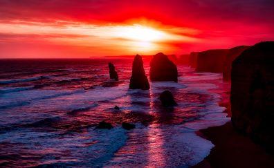 The Twelve apostles, Australia, rocks, sunset, nature
