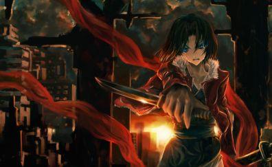Ryougi Shiki, Fate/Grand Order, sword, anime girl, art