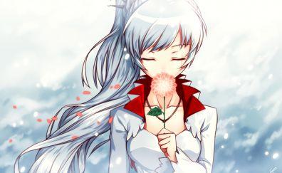 Closed eyes, Weiss schnee, RWBY, anime girl