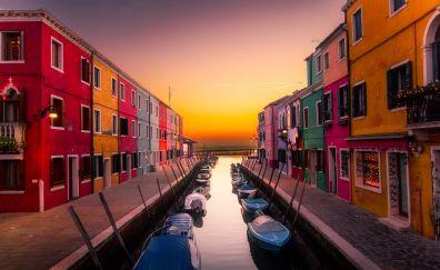 Venice, city, apartments, river, sunset