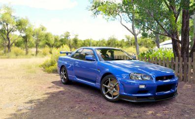 Blue Nissan skyline, car, Forza Horizon 3, video game