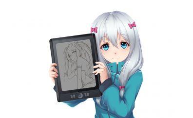 White hair, anime girl, sagiri izumi, tablet