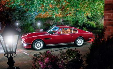 Aston martin, retro car, red, classic, 4k