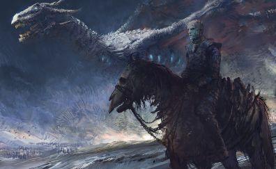 Night king, dragon, game of thrones, white walker