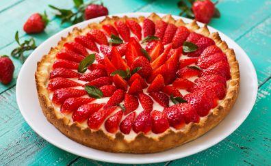 Strawberry pie, cake, food, 5k