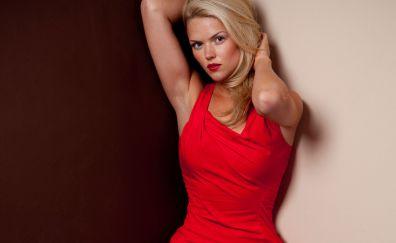 Erin Richards, Welsh actress, blonde, red dress