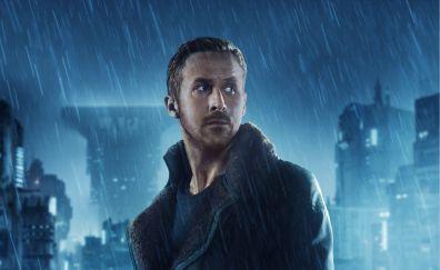 Ryan gosling, officer k, blade runner 2049, movie, rain, 4k