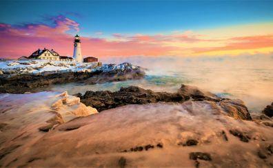 Coast, lighthouse, skyline, sunset