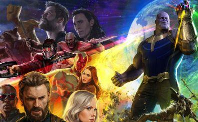 Avengers: infinity war, Captain America, thor, groot, thanos, 2018 movie, 5k