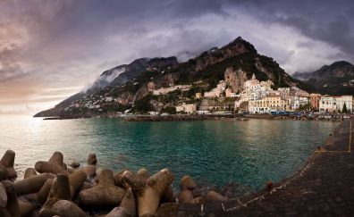 Coastal town, Amalfi, sea, mountains