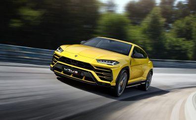 Lamborghini urus, sports car, yellow, on road, 4k