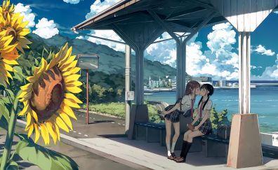 Anime girls, kiss, friends, original, 4k
