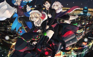 Anime, fate/grand order, bike, ride over city