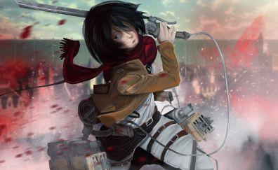 Art, anime girl, Mikasa Ackerman, Attack on Titan