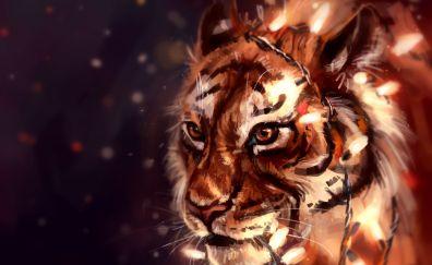 Tiger, big wild cat, muzzle, art